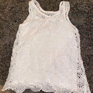 Girls white lace tank